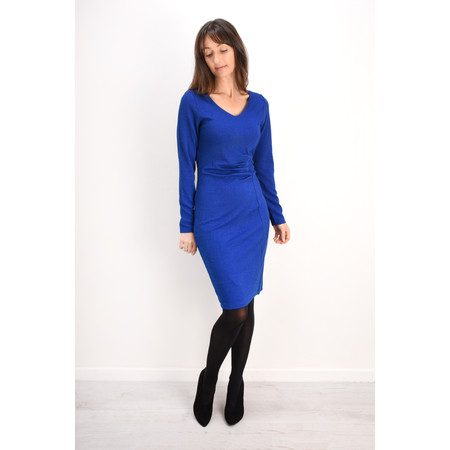 Smashed Lemon V-Neck Jacquard Dress - Blue
