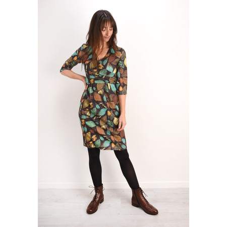 Smashed Lemon Leaf Print Wrap Dress - Brown