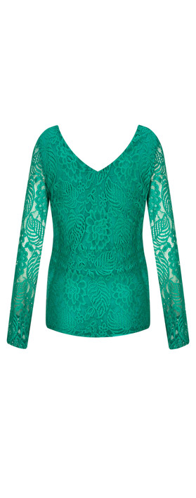 Smashed Lemon Fitted Lace Top Green
