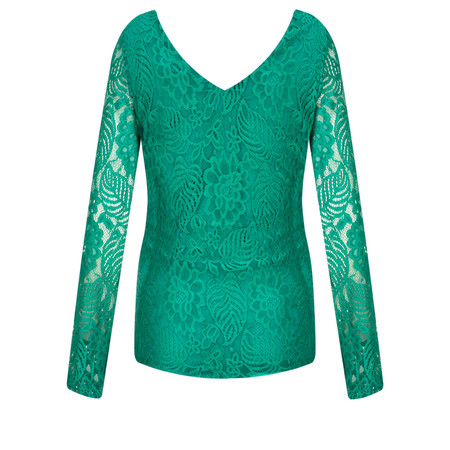 Smashed Lemon Fitted Lace Top - Green