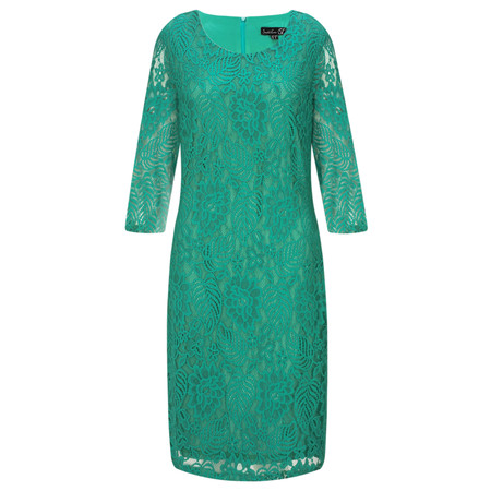 Smashed Lemon Lace Fitted Dress - Green