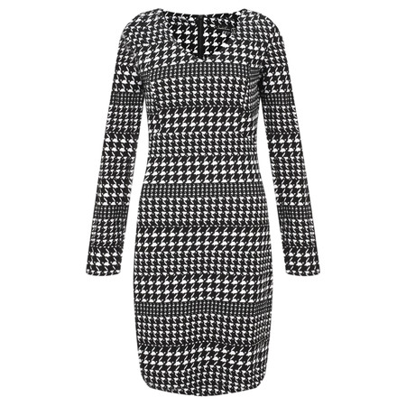 Smashed Lemon Herringbone Check Dress - Black