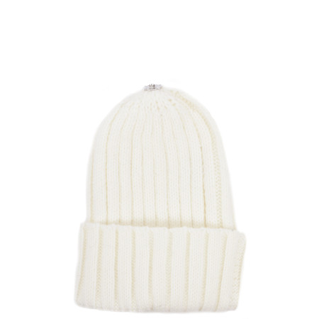 Bitz of Glitz Anna Ribbed Beanie Hat - White