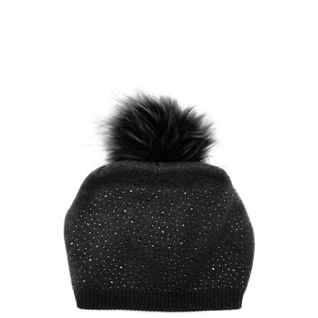 Bitz of Glitz Krissy Slouch Beanie with Pom - Black