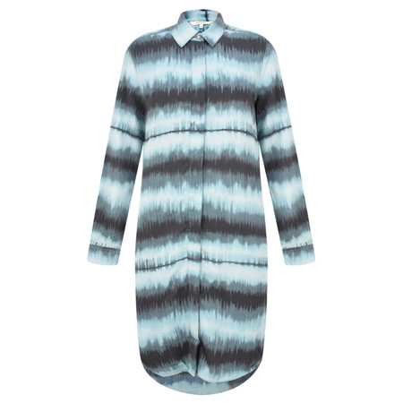 Sandwich Clothing Tie Dye Stripe Shirt Dress - Blue