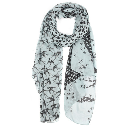 Sandwich Clothing Woven Abstract Swallow Print Scarf  - Blue