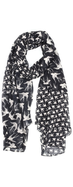 Sandwich Clothing Woven Swallow Print Scarf Almost Black