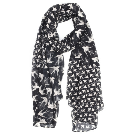 Sandwich Clothing Woven Swallow Print Scarf - Black