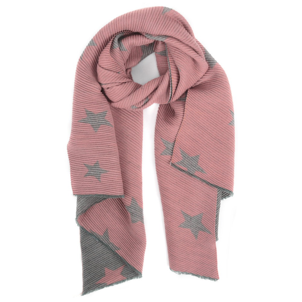 Gemini Label Accessories Revo Stars Reversible Scarf Pink