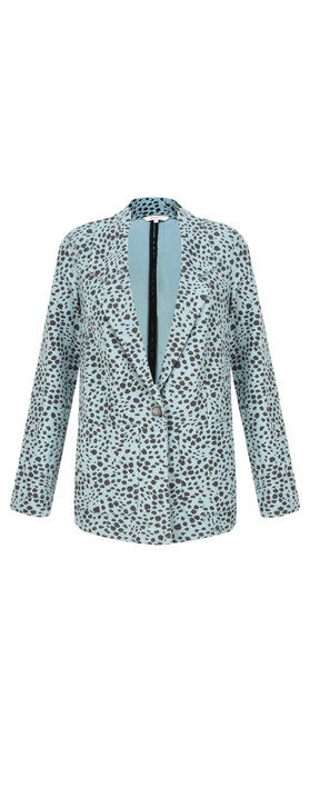 Sandwich Clothing French Terry Cheetah Blazer Mineral Blue