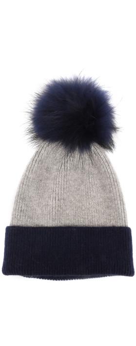 Bitz of Glitz Lola B Hat with Pom Navy / Grey