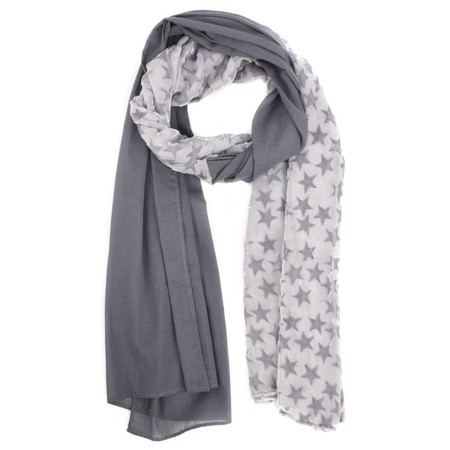V.Fraas Velvet Stars Cotton Scarf - Grey