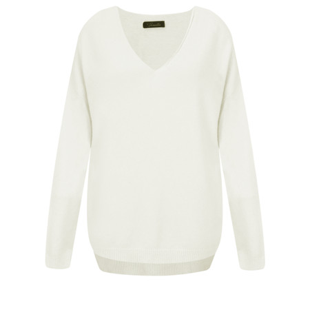 Fenella  Emmie EasyFit V-neck Knit Jumper - Off-White