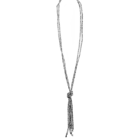 Eliza Gracious Pippa Knotted Crystal Necklace - Blue