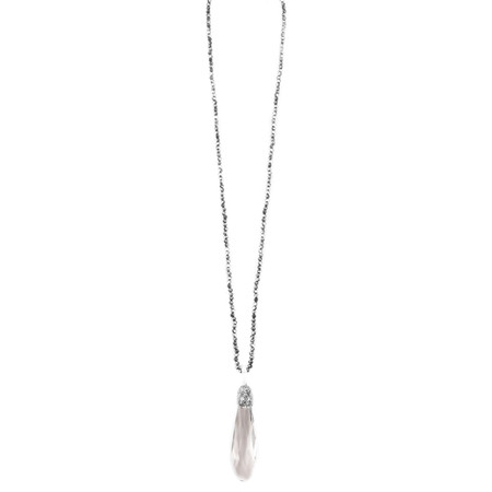 Eliza Gracious Brea Long Crystal Pendant Necklace - Grey