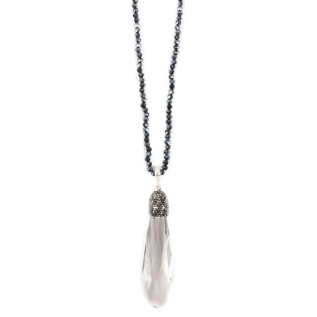 Eliza Gracious Brea Long Crystal Pendant Necklace - Blue