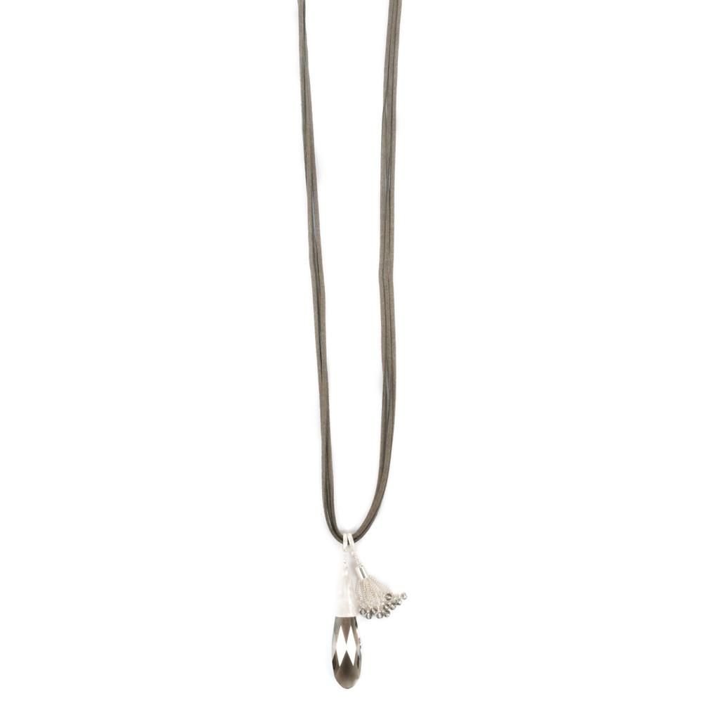 Eliza Gracious Bella Crystal Suede Necklace Grey