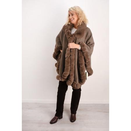 Fenella  Marla Fur Trim Oversized Poncho Cape - Beige