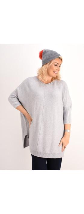 Helen Moore Cashmere Faux Fur Pom Pom Beanie Dark Grey/Coral