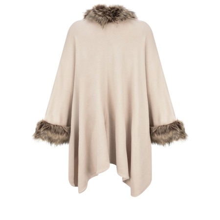 RINO AND PELLE Dianna Faux Fur Oversized Cape - Beige