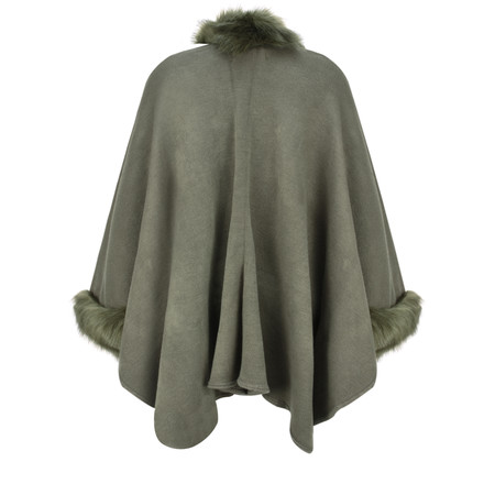 RINO AND PELLE Dianna Faux Fur Oversized Cape - Multicoloured