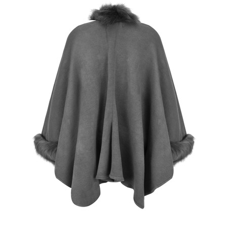 RINO AND PELLE Dianna Faux Fur Oversized Cape - Grey