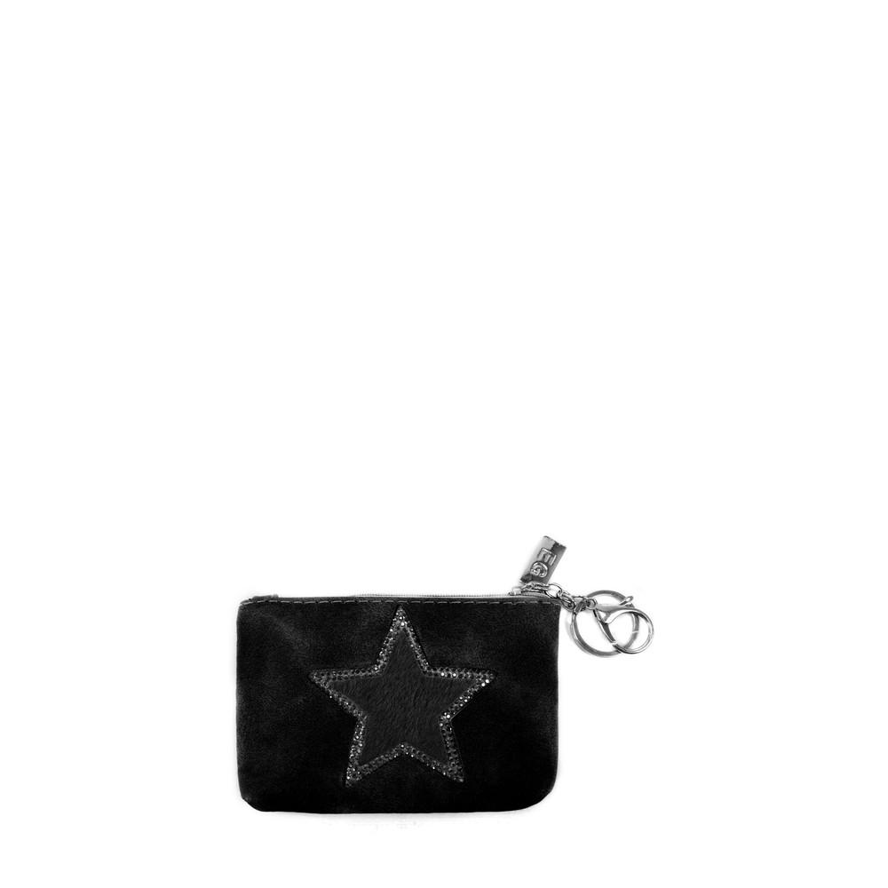 Eliza Gracious Star Crystal Embellished Purse Black
