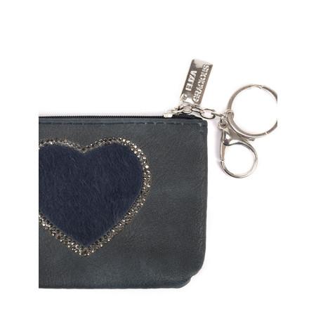 Eliza Gracious Heart Crystal Embellished Purse - Blue