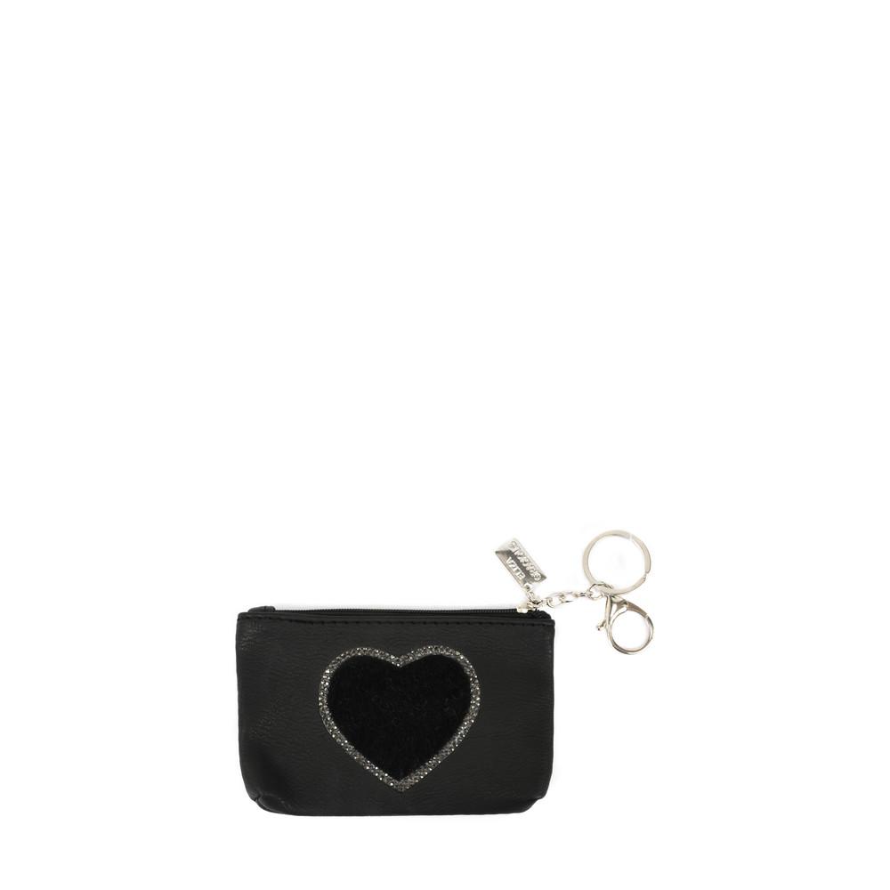 Eliza Gracious Heart Crystal Embellished Purse Black