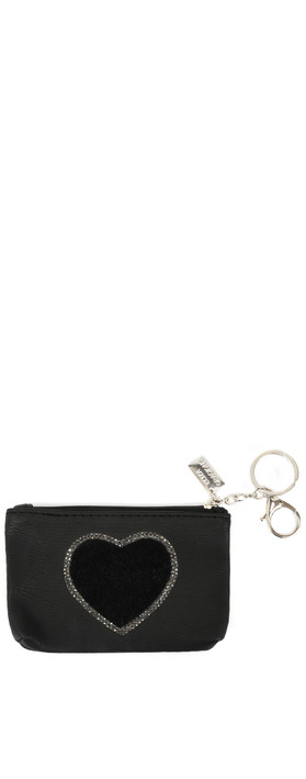 Eliza Gracious Heart Crystal Embellished Purse Black