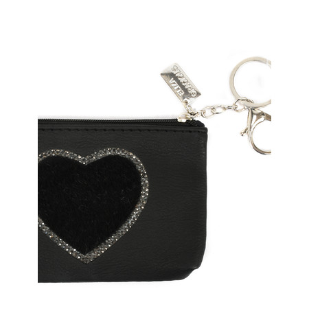 Eliza Gracious Heart Crystal Embellished Purse - Black