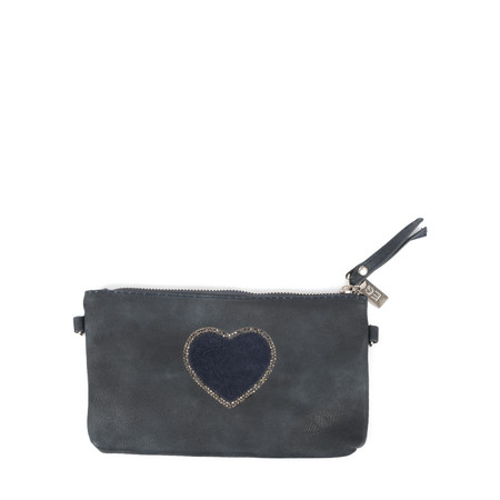 Eliza Gracious Heart Crystal Embellished Clutch - Blue