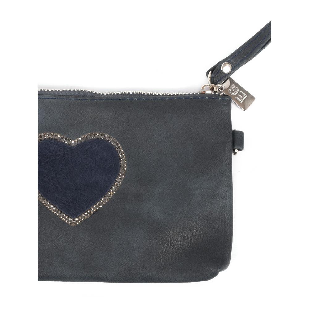 Eliza Gracious Heart Crystal Embellished Clutch Navy