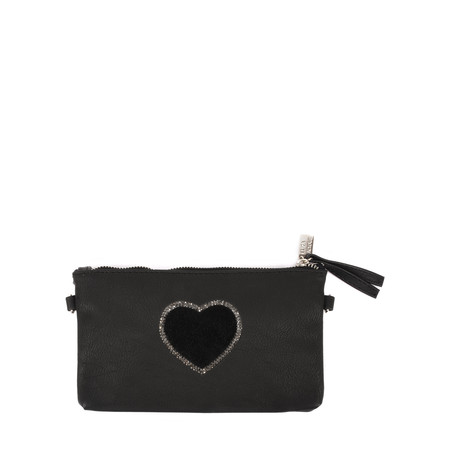 Eliza Gracious Heart Crystal Embellished Clutch - Black