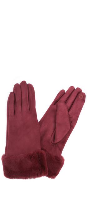 Gemini Label Accessories Nala Fur Trim Gloves Bordeaux