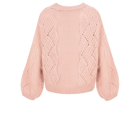 ICHI Umina Chunky Cable Knit Jumper - Pink
