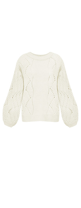 ICHI Umina Chunky Cable Knit Jumper Cloud Dancer