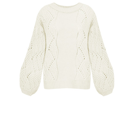 ICHI Umina Chunky Cable Knit Jumper - White
