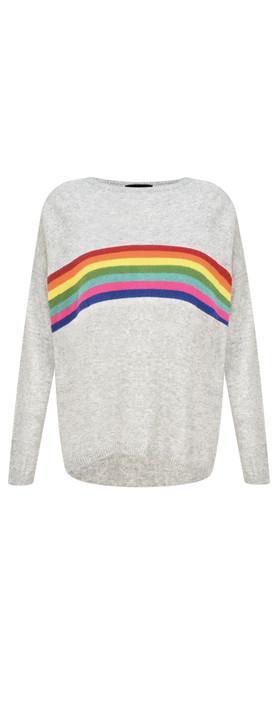 Luella Davina Cashmere Blend Rainbow Stripe Jumper Grey / Rainbow