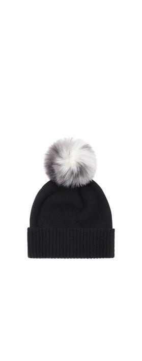 Helen Moore Cashmere Faux Fur Pom Pom Beanie Black/Arctic Leopard