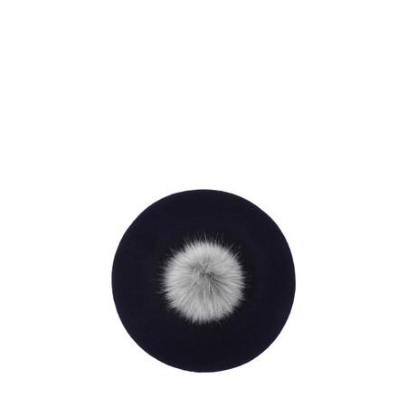 Helen Moore Pom Pom Faux Fur Beret - Blue