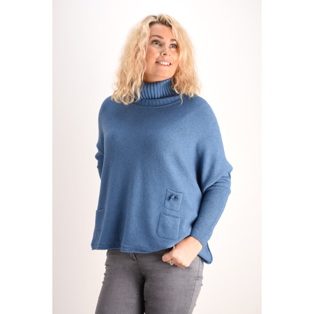 Fenella  Linzy Roll Neck Oversized Knit Jumper - Blue