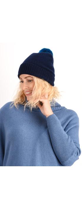 Helen Moore Cashmere Faux Fur Pom Pom Beanie Navy/Ocean Blue