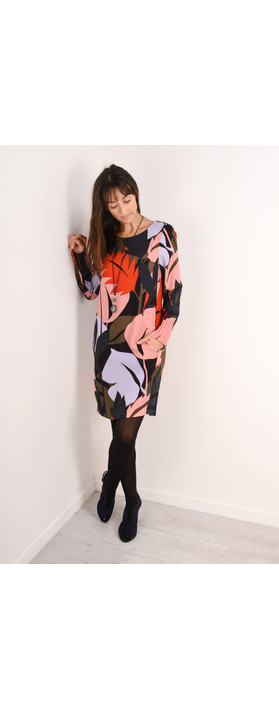 Sandwich Outlet Bold Leaf Print Dress Grape Leaf