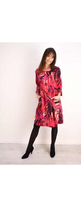 Masai Clothing Abstract Print Nylla Dress Pink Org