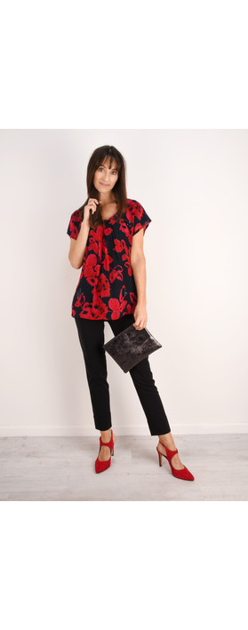 Masai Clothing Enya Floral Print Sequin Top Ruby Org