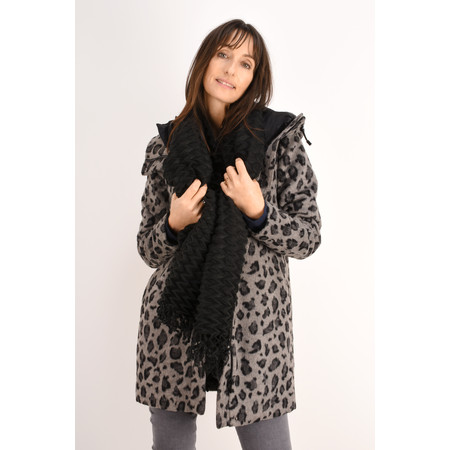 Sandwich Clothing Leopard Love Hooded Coat - Grey