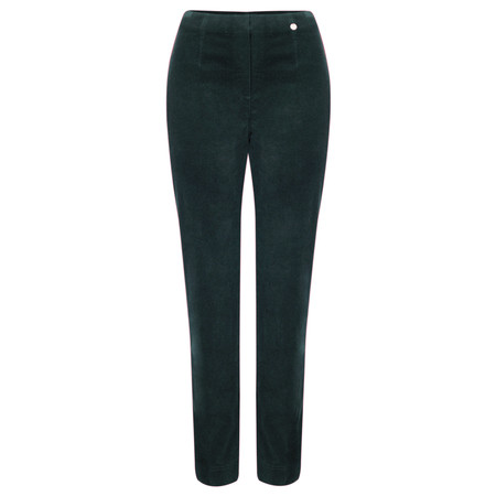 Robell Trousers Marie Stretch Cotton Velvet Slim Full Length Trouser - Green
