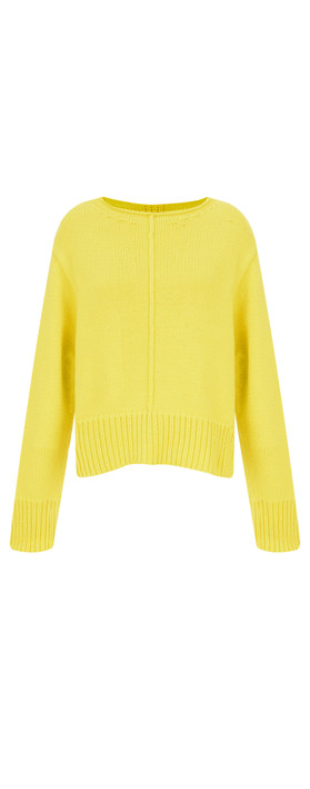 Sandwich Clothing Side Split Cotton Jumper Warm Yellow