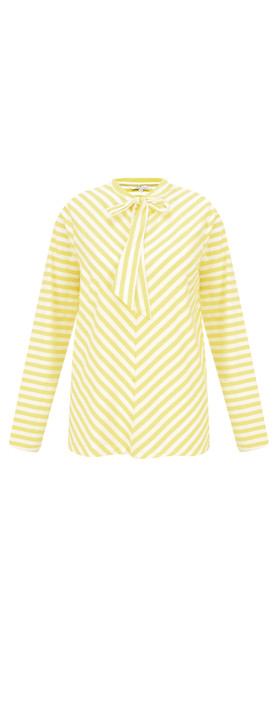 Sandwich Clothing Striped Bow Detail Top Warm Yellow